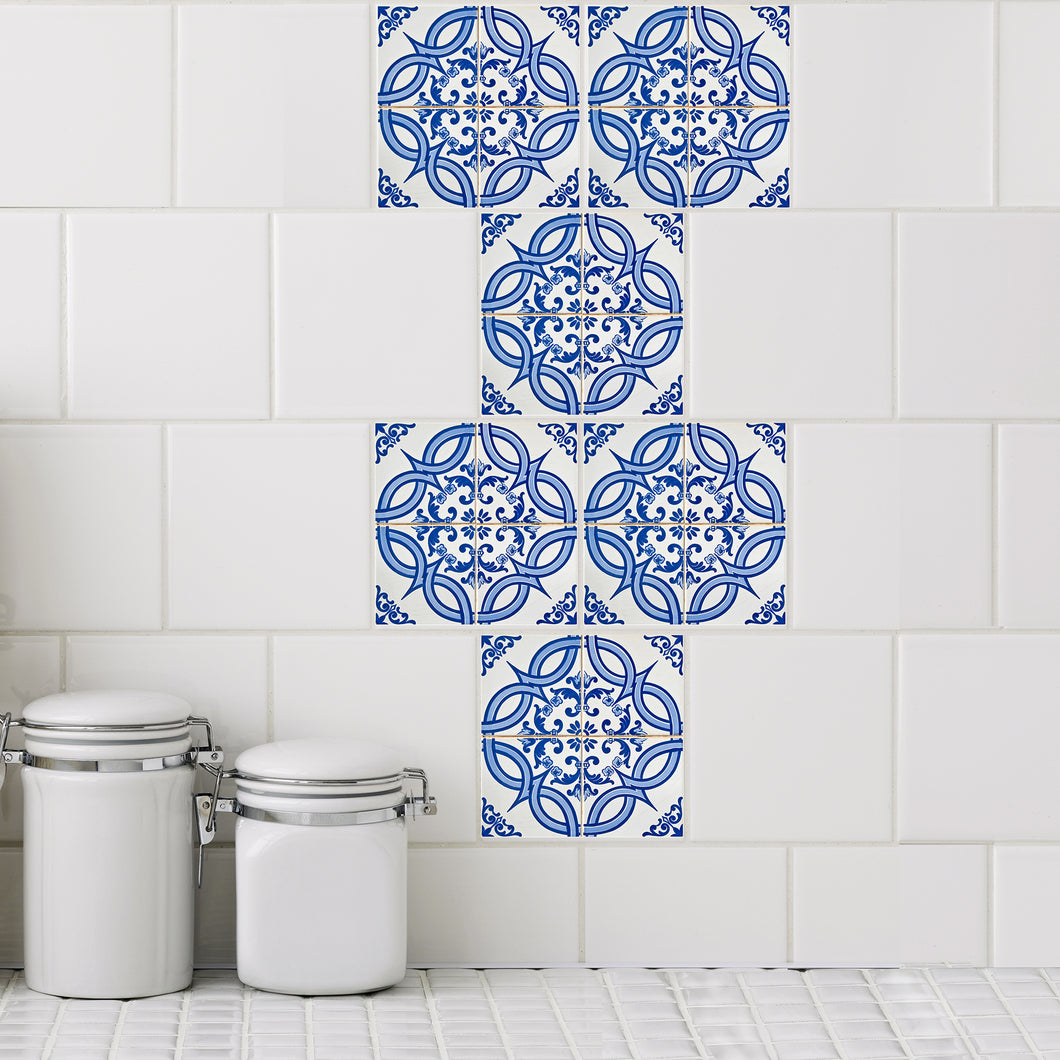 Mosaic Azul Tres Tile Decals