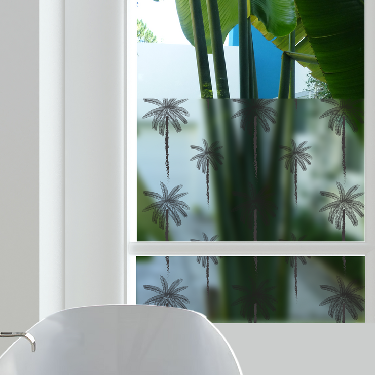 Palms Privacy Window Film — For Home Window Tinting - StickPretty
