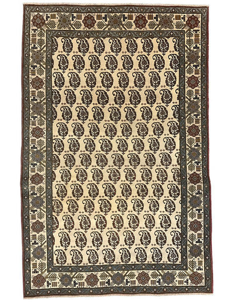 Antique Paisley Persian Qum - 210cm x 138cm (7ft x 4-7ft)