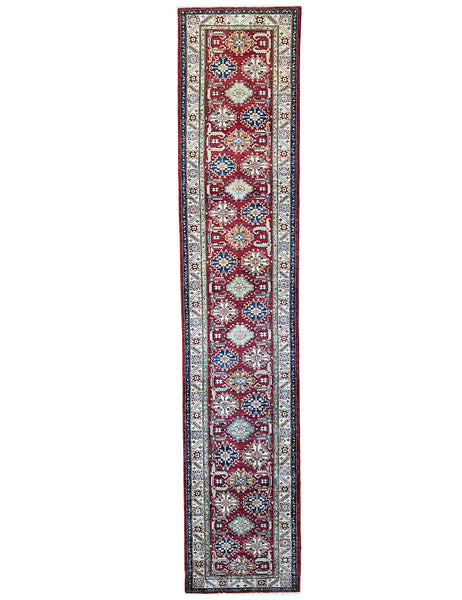 Kazak Runner - 397cm x 79cm (13ft x 2-6ft) Hall Runner- KAZAK