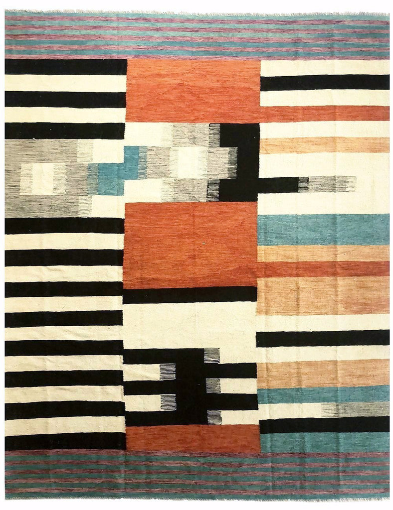 Bauhaus Kilim - 299cm x 250cm (9-10ft x 8-3ft) - Modern and Contemporary Rugs - THE HANDMADE RUG COMPANY