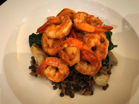 Herbed Shrimp with French Lentils, Artichokes, Braised Spinach
