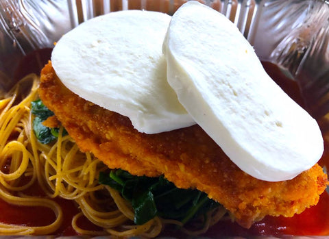 New Style Baked Chicken Parmesan, Whole Wheat Angel Hair Pasta, Spinach