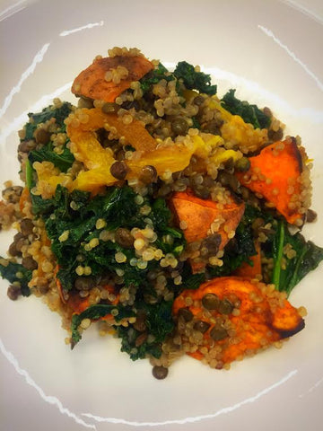 Quinoa and Lentil Salad, Roasted Peppers, Sweet Potatoes and Kale