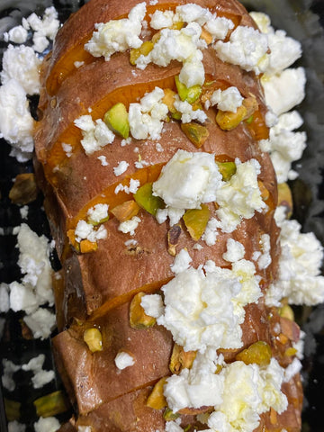Roasted Sweet Potato, Feta Cheese, Pistachios, Honey