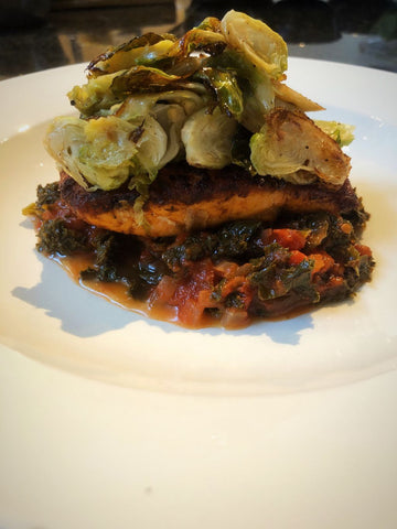 Pan Roasted Salmon, Roasted Brussel Sprouts, Braised Greens, Tomato