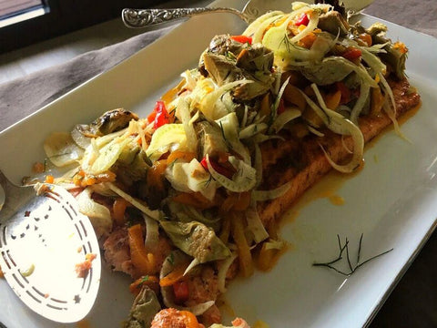 Salmon with Artichokes, Fennel and Roasted Peppers