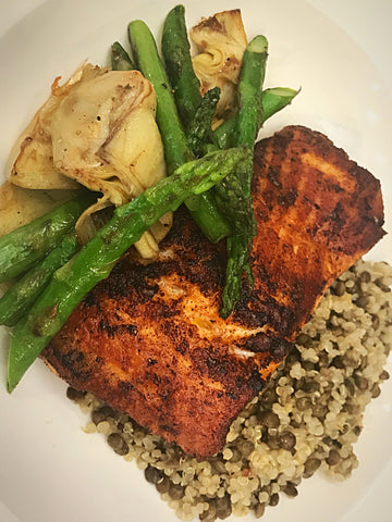Grilled Salmon with Lentil- Quinoa Pilaf, Asparagus and Artichokes