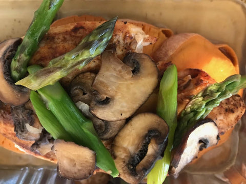 Grilled Chicken with Roasted Sweet Potatoes, Asparagus, and Cremni Mushrooms