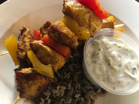 Spiced Salmon Kabob, Lentil and Brown Rice Megadarra, Tahini-Yogurt Dressing