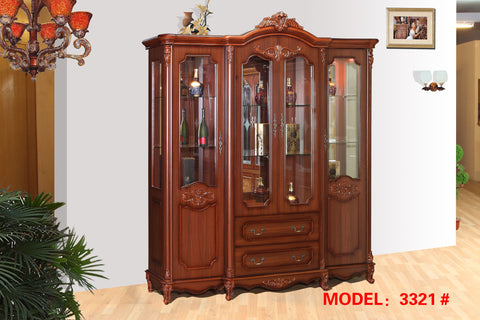 Red Solid Wood Wine Cabinet #3321