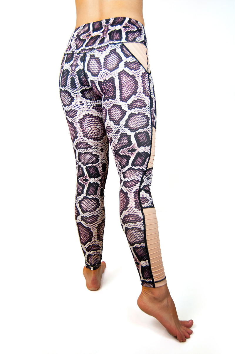 Animal Instinct python print moto leggings purple and blush back view