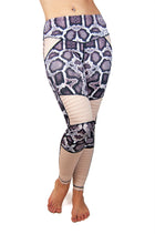 Animal Instinct python print moto leggings purple and blush front view