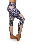 Animal Instinct python print moto leggings purple and blush side view