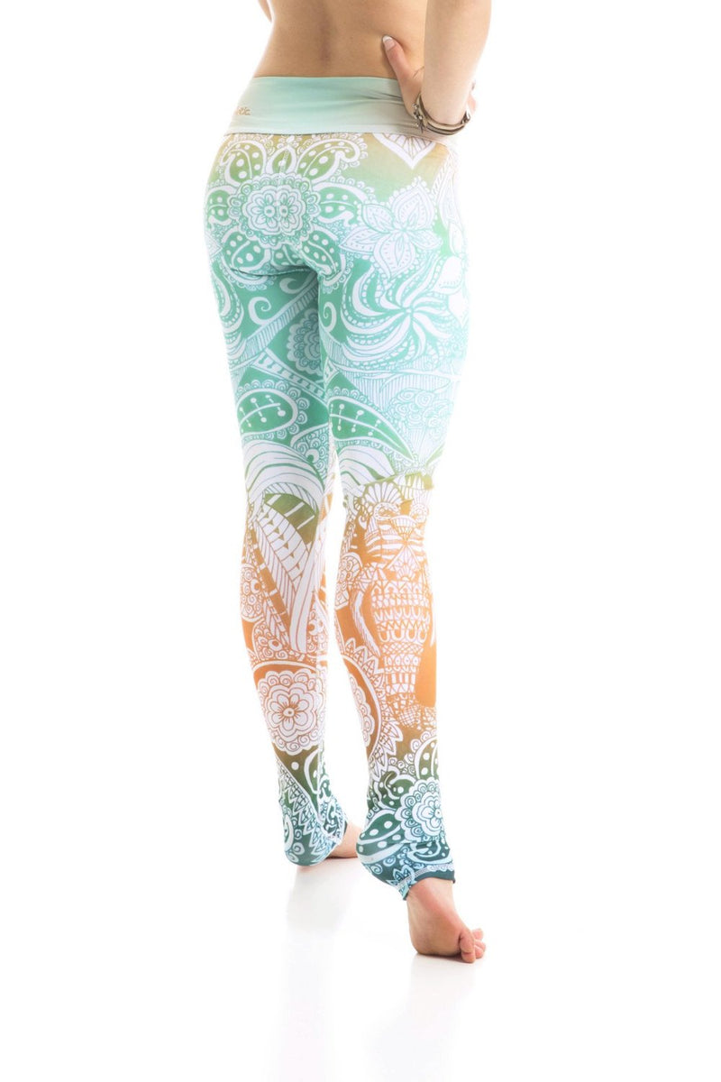 Om Shanti tropical colors High waist drawstring leggings made from premium eco friendly compression fabrics. Mint green pattern. Elephant leggings. Uniquely yoga boutique. back view.