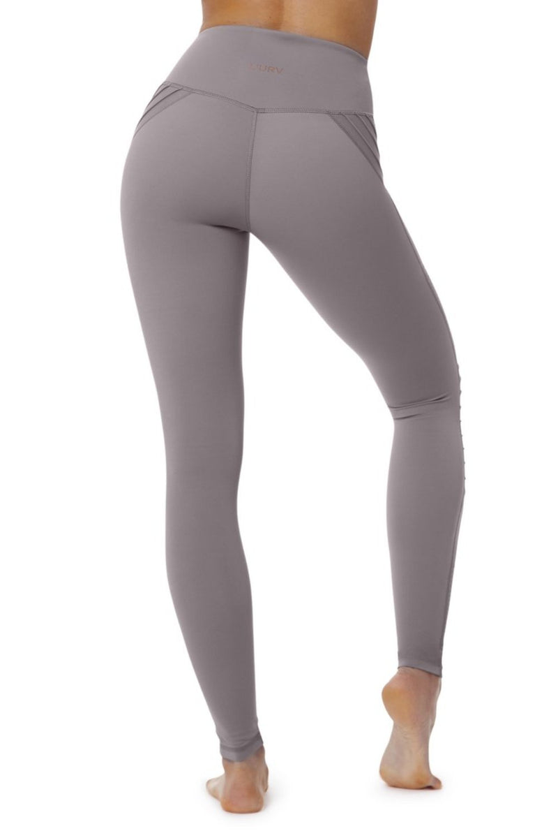 Lur'v Cool change moto legging high waisted dusty lilac textured design available from Uniquely yoga boutique. Back View