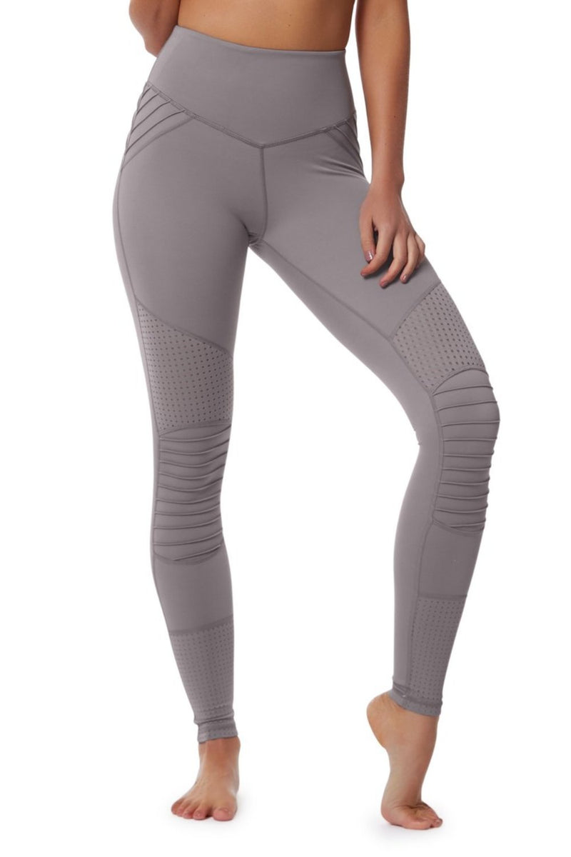 Lur'v Cool change moto legging high waisted dusty lilac textured design available from Uniquely yoga boutique. Front View