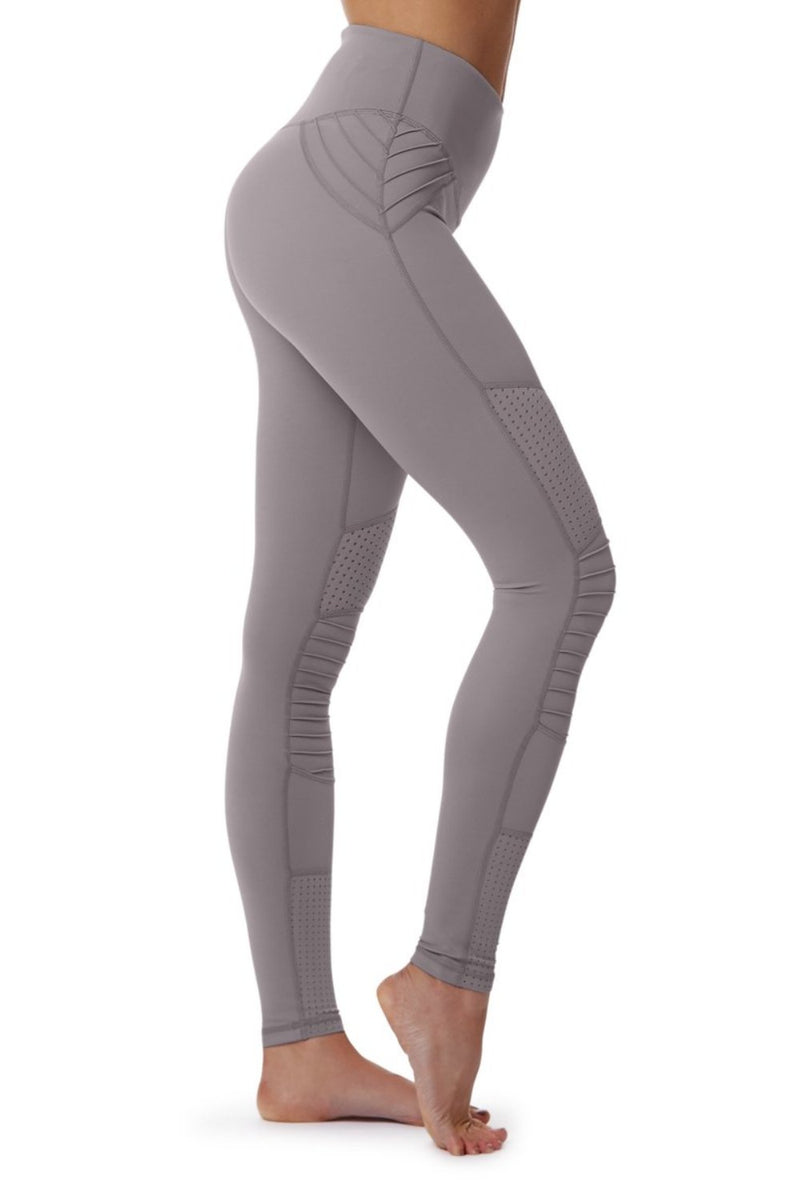 Lur'v Cool change moto legging high waisted dusty lilac textured yoga pants available from Uniquely yoga boutique. Side View