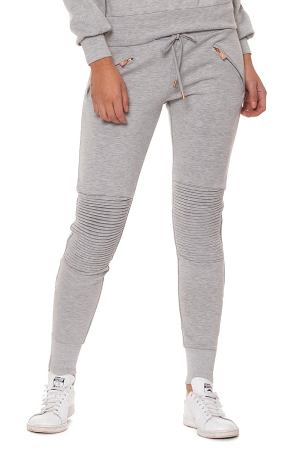 Lur'v drawstring waist jogger style moto leggings in heather gray with rose gold accent. front