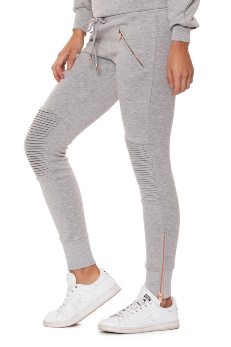 Lur'v drawstring waist jogger style moto leggings in heather gray with rose gold accent. side