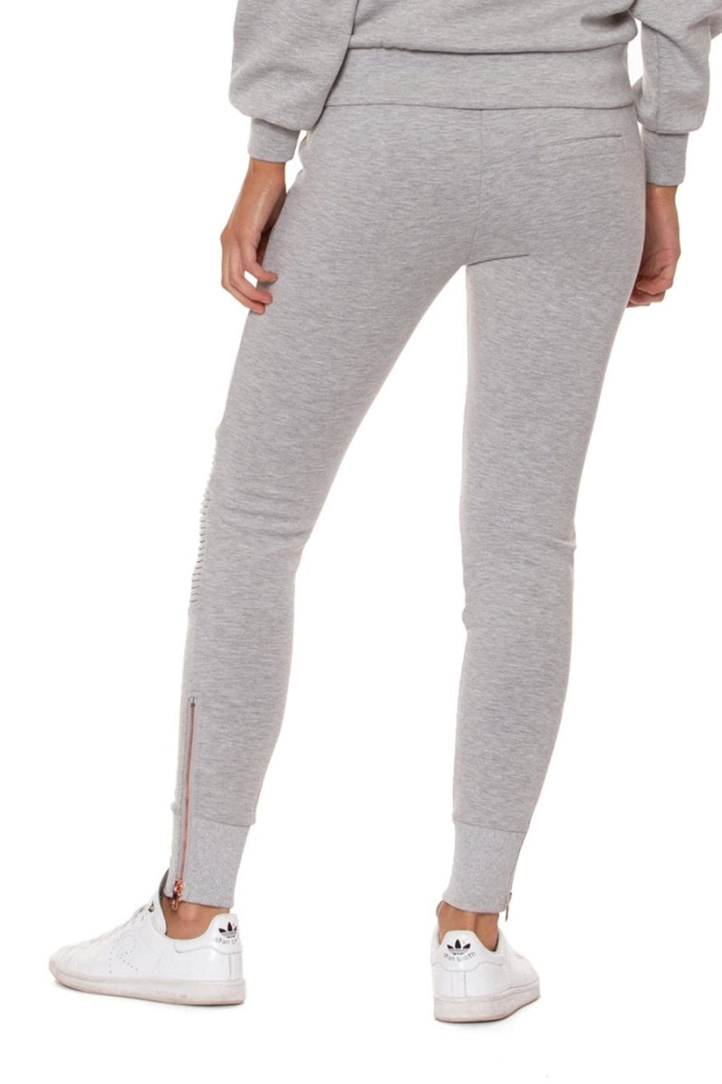 Lur'v drawstring waist jogger style moto leggings in heather gray with rose gold accent. back
