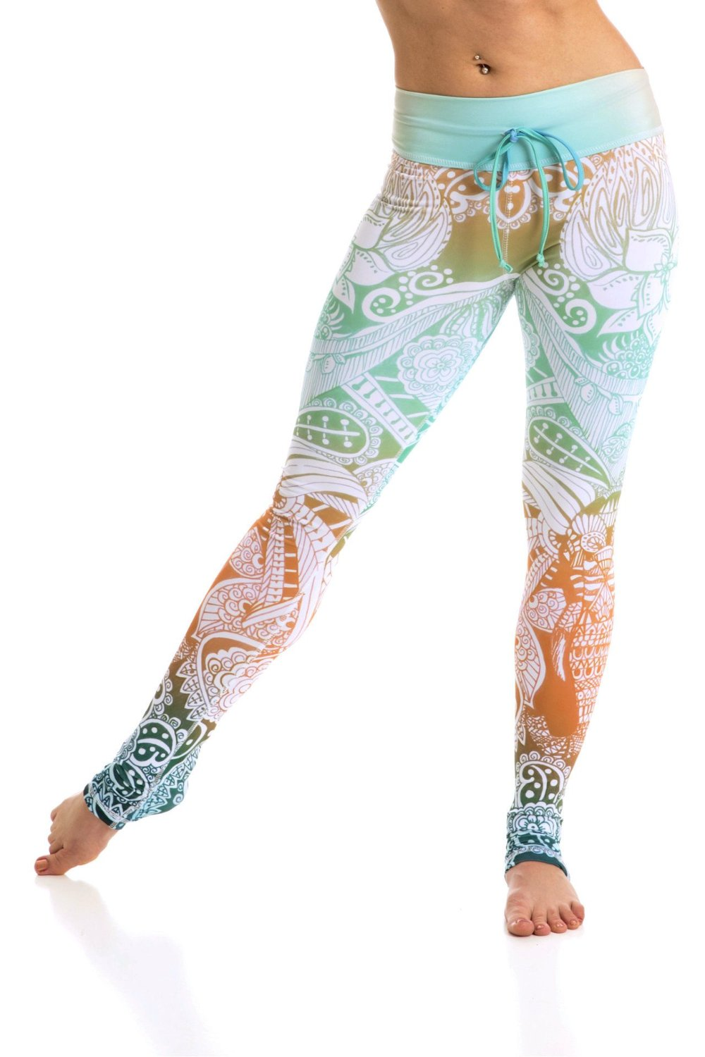 Om Shanti tropical colors High waist drawstring leggings made from premium eco friendly compression fabrics. Mint green pattern. Elephant leggings. Uniquely yoga boutique. front view.