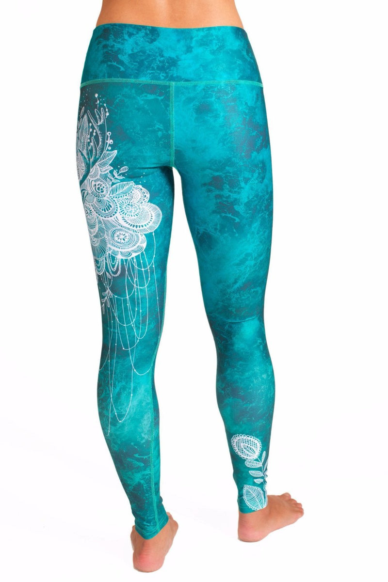 Teal High waisted yoga leggings with white deer design from Inner Fire. Premium fabrics made from recycled water bottles. Uniquely Yoga Majestic Back view