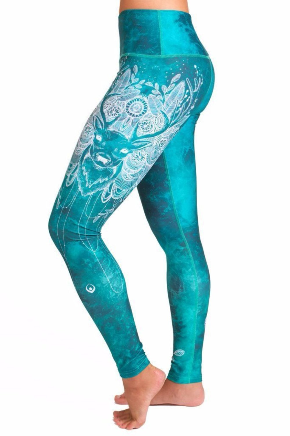 Teal High waisted yoga leggings with white deer design from Inner Fire. Premium fabrics made from recycled water bottles. Majestic Side view