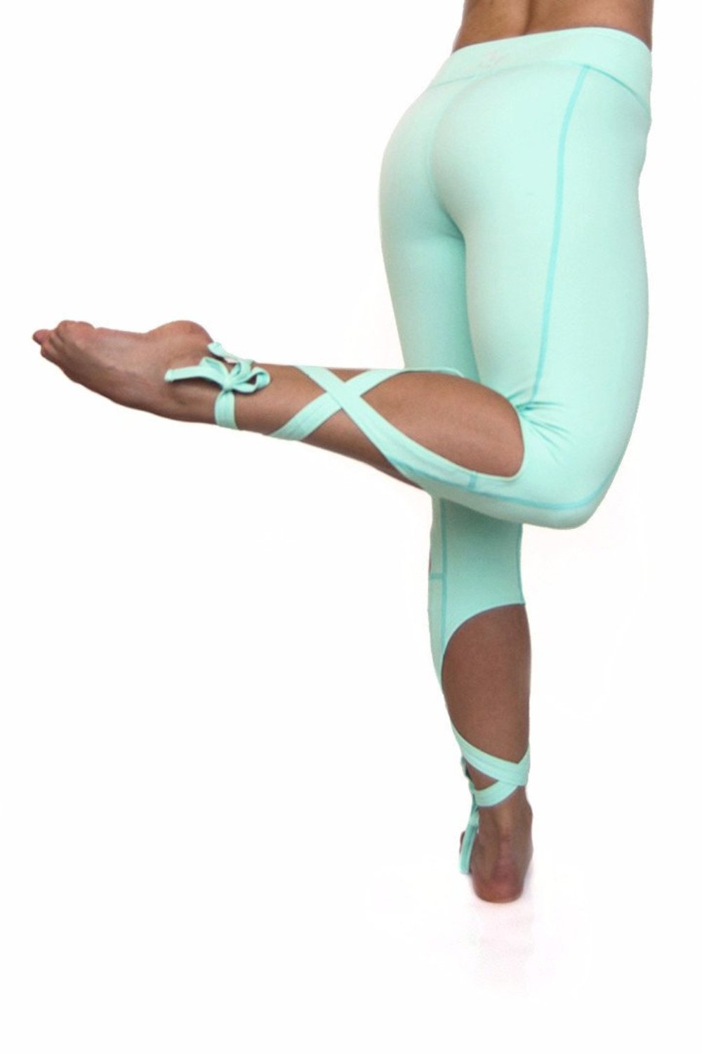 Mint Green unique leg wrap dancer style yoga leggings from Flexi Lexi.  Available from Uniquely Yoga. Back View
