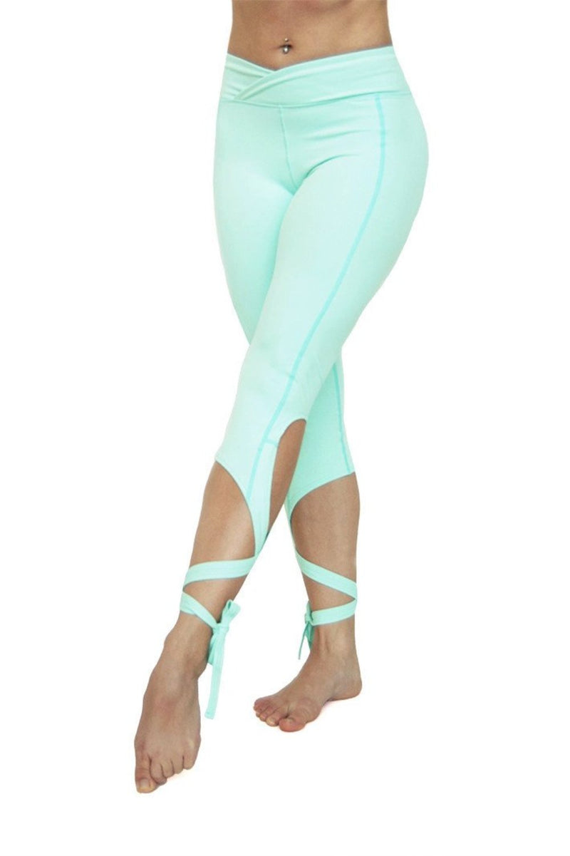 Mint Dancer Leggings high waist. Unique leg wrap dancer style yoga leggings from Flexi Lexi.  Available from Uniquely Yoga. Front View