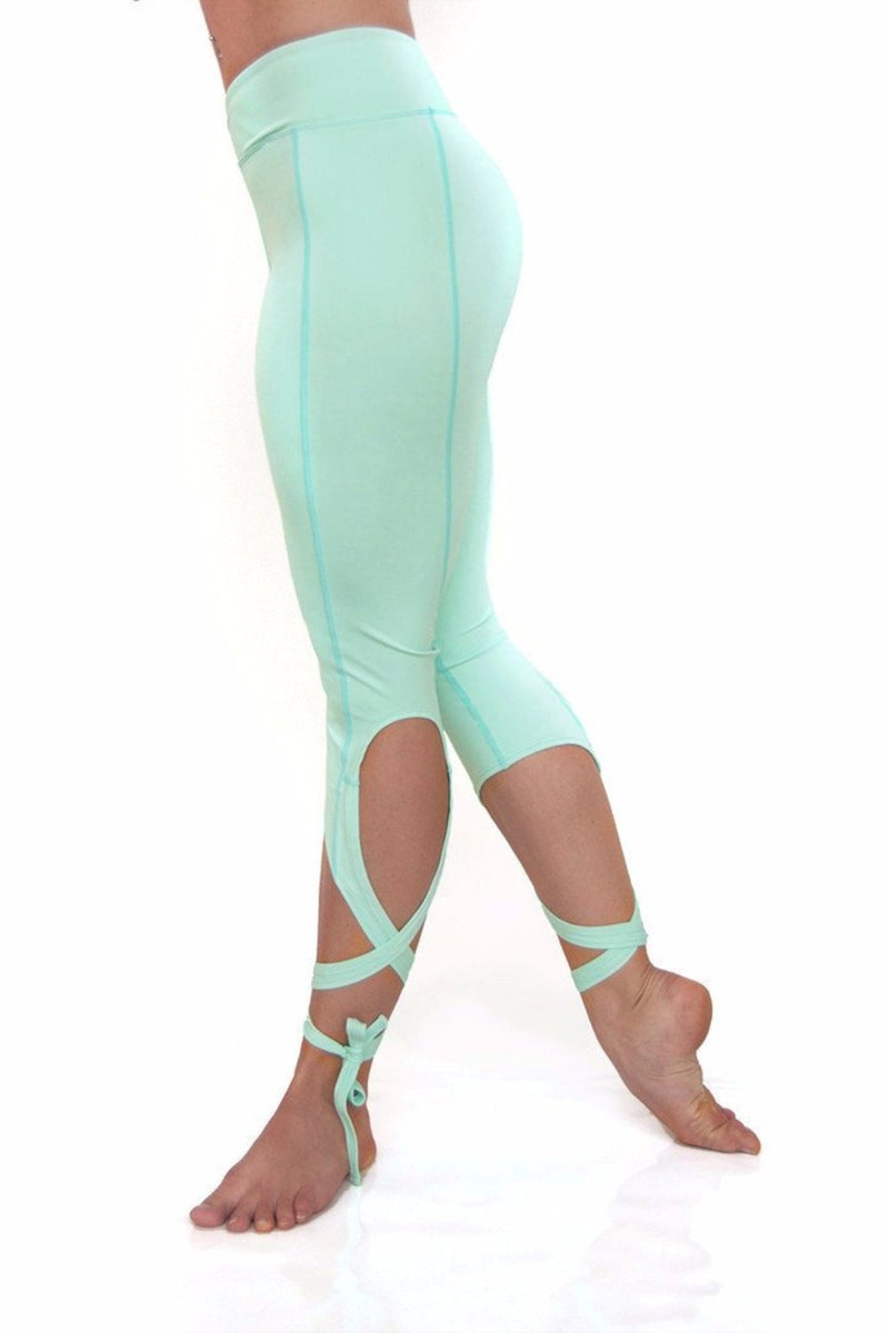 Mint Dancer Leggings Side view. Unique leg wrap dancer style yoga leggings from Flexi Lexi.  Available from Uniquely Yoga. Back View