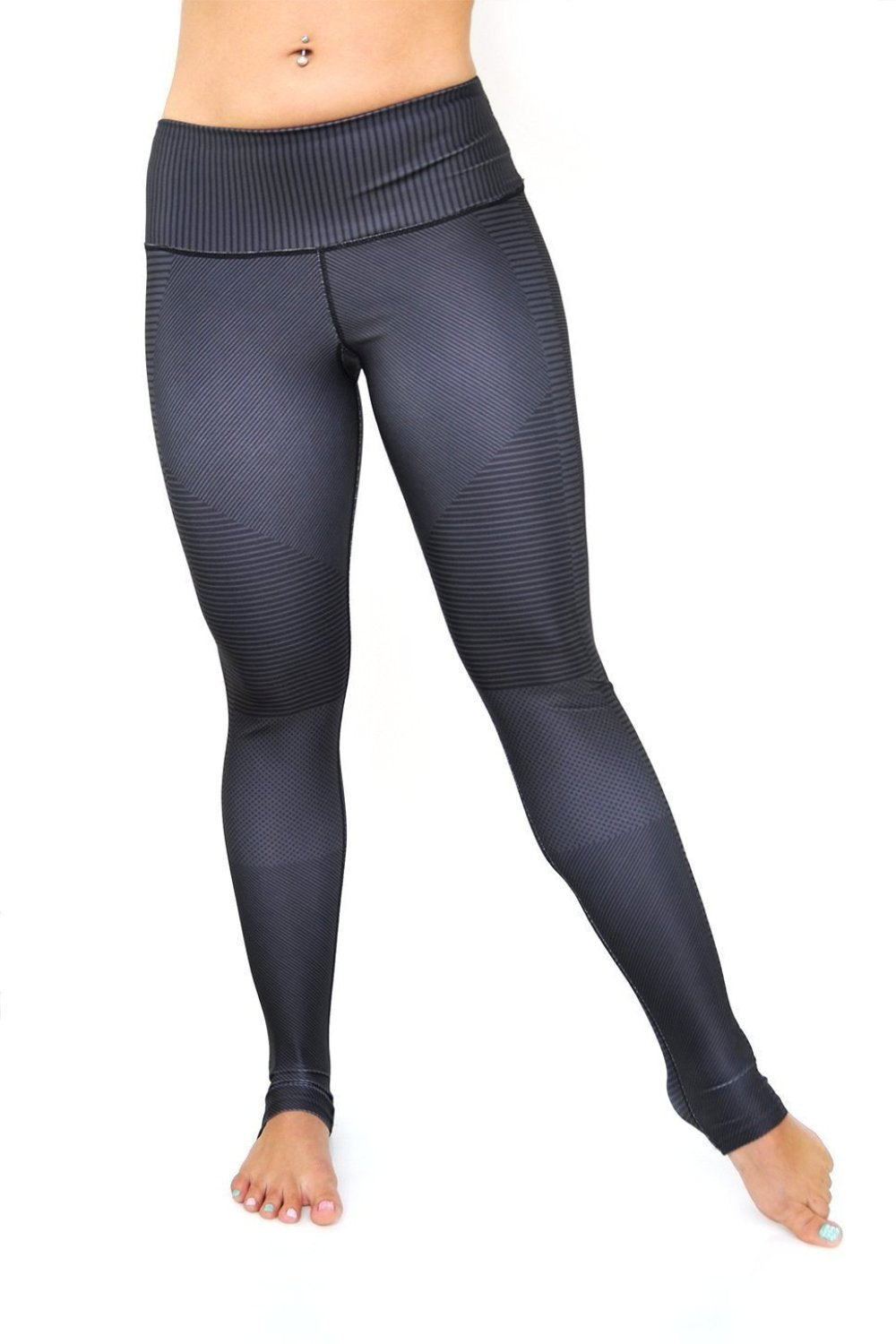 High waisted moto pattern black and grey leggings made with eco friendly fabrics from Inner Fire. Luxe high compression yoga pants from Uniquely Yoga. Front View
