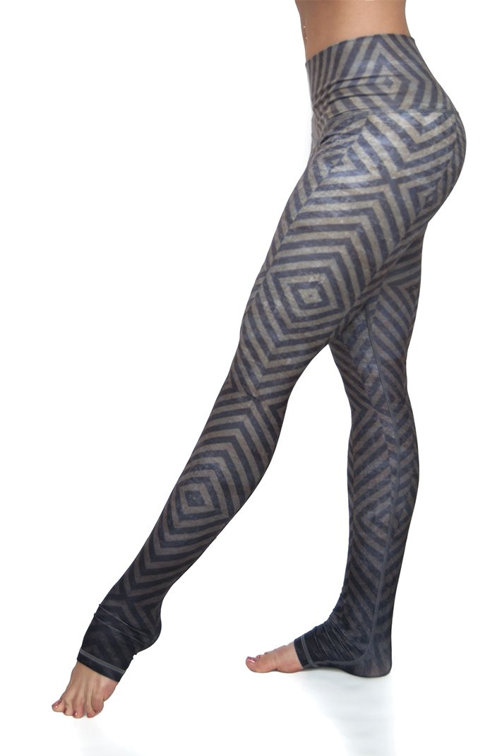 Mystic high waist extra long ultra soft compression yoga pants from Niyama Sol. Olive green blue grey ombre diamond design with You are Unique printed on inside of fold down waistband. Eco friendly recycled fabric available from Uniquely Yoga. Side View