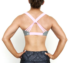 Pink Lotus Sports Bra unique soft gray bra pink straps back view