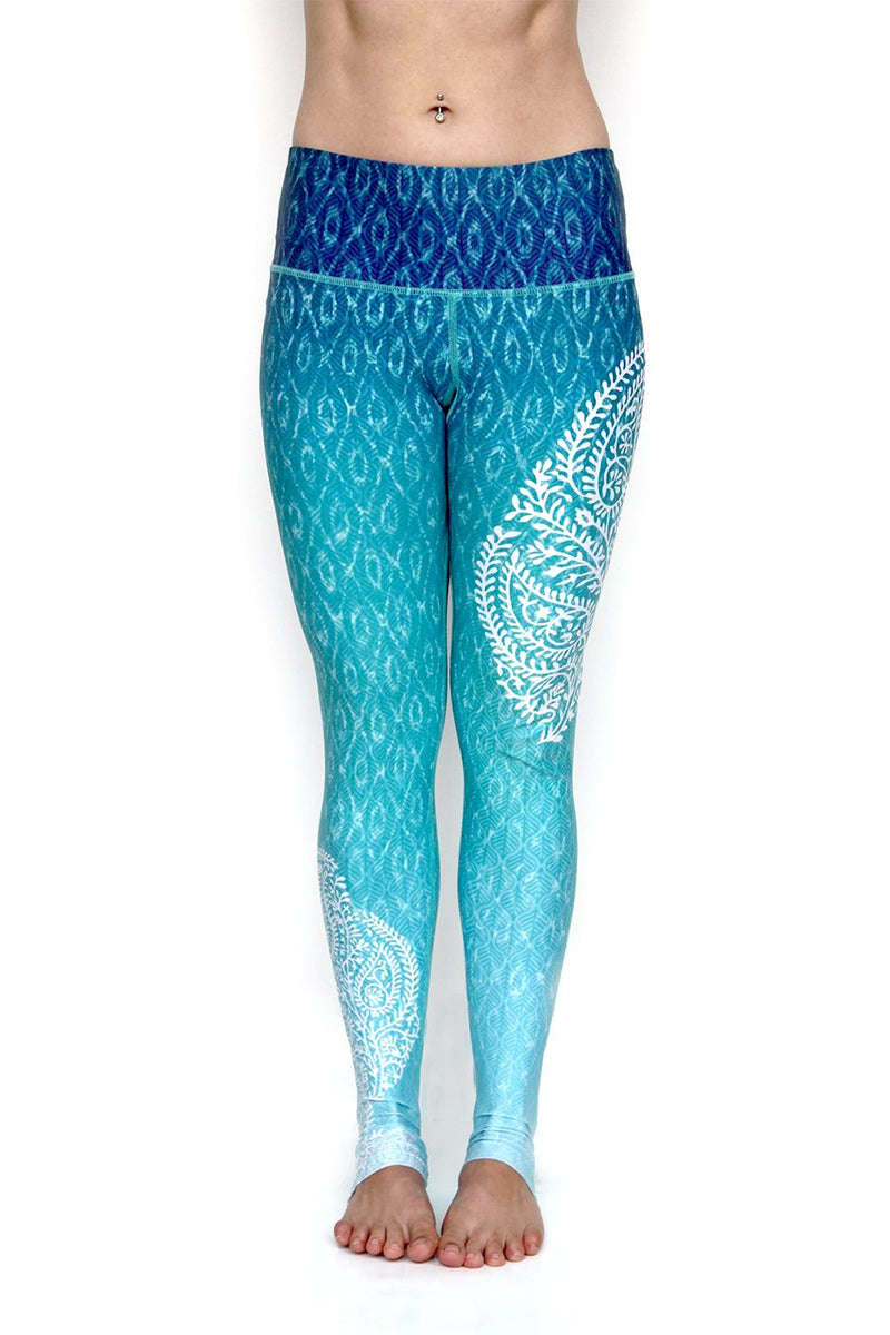 Reflection Blue green white ombre high waisted yoga leggings with white paisley pattern on side from Inner Fire. Premium fabrics made from recycled water bottles. Front view