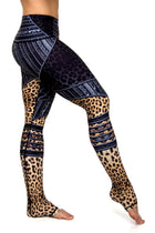 Zandra high waist animal print leather print moto style lettings. Ultra fab premium style yoga pants from Niyama Sol, available from Uniquely Yoga. Extra long. Side View.