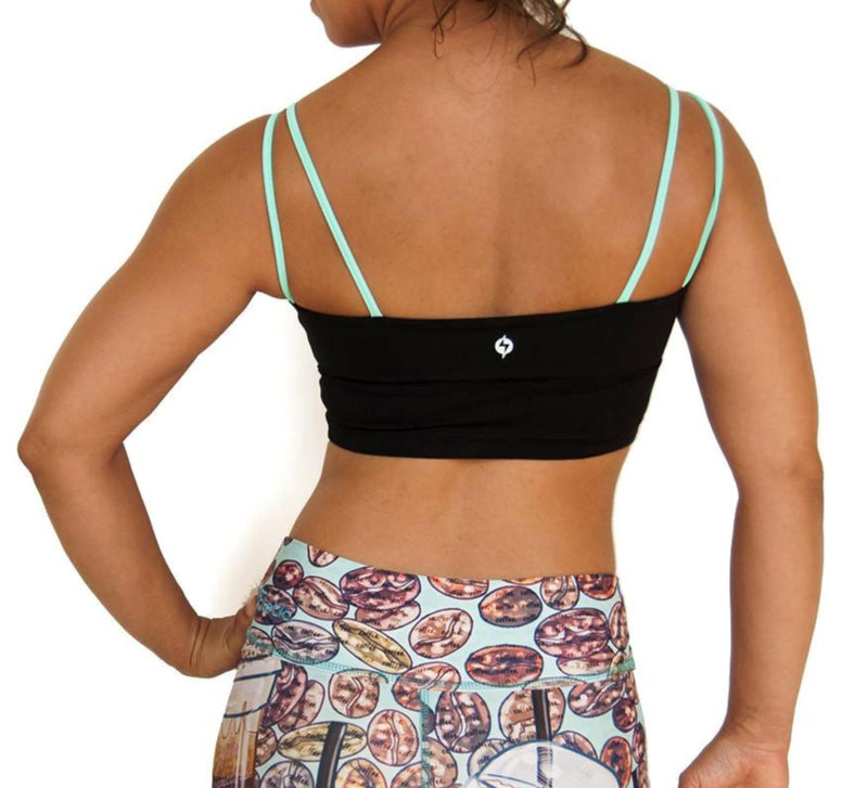 Black mesh front sports bra with mint green criss cross straps designed by Popflex. Back view unique sports bra