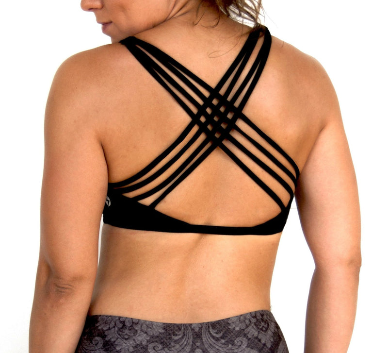 Black V neck front sports bra with criss cross straps designed by Popflex. Back view unique sports bra
