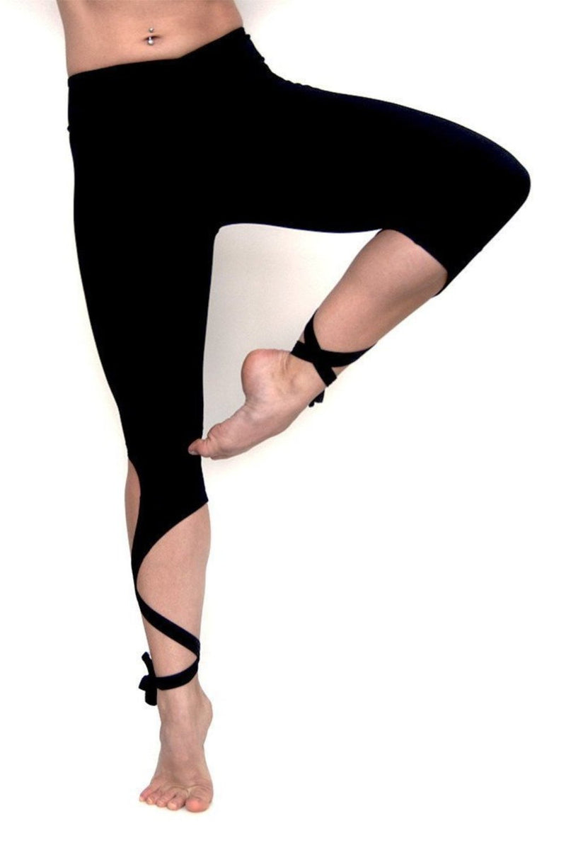 Black unique leg wrap dancer style yoga pants from Flexi Lexi.  Available from Uniquely Yoga. Tree Pose. Front View