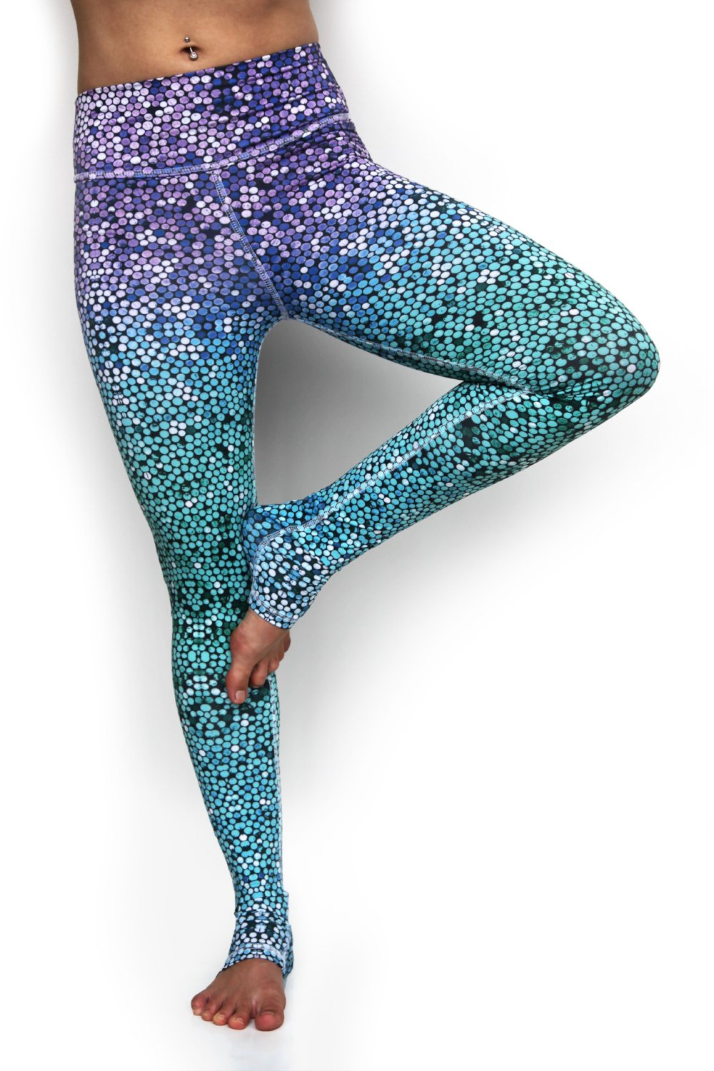 Mosaic Mermaid high waist extra long leggings made from lux eco friendly fabrics. Blue green purple ombre. Available from Uniquely Yoga