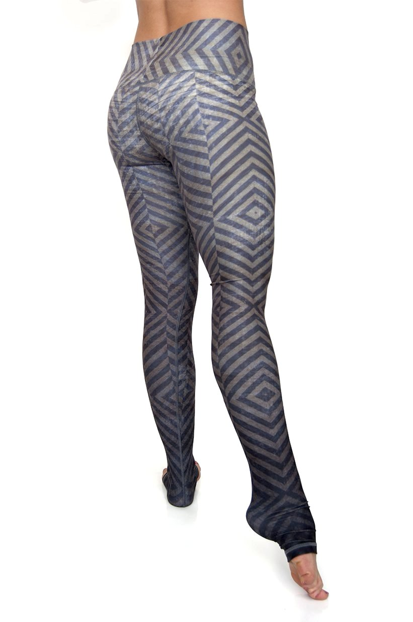 Mystic high waist extra long ultra soft compression yoga pants from Niyama Sol. Olive green blue grey ombre diamond design with You are Unique printed on inside of fold down waistband. Eco friendly recycled fabric available from Uniquely Yoga. Back View