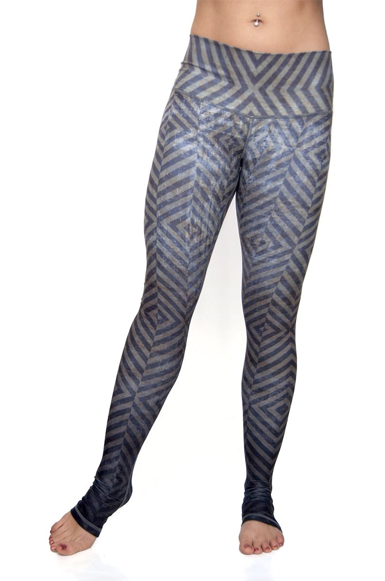 Mystic workout leggings from Niyama Sol - high waist extra long ultra soft compression yoga pants from Niyama Sol. Olive green blue grey ombre diamond design with You are Unique printed on inside of fold down waistband. Eco friendly recycled fabric available from Uniquely Yoga. Front View