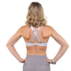L'urv mesh front v-neck adjustable strap new beginnings bralette in greywith rose gold hardware. Unique Sports Bra back. Available from Uniquely Yoga Boutique