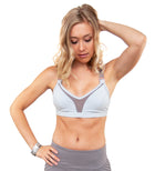 L'urv mesh front v-neck adjustable strap new beginnings bralette in gray with rose gold hardware. Unique Sports Bra Front View