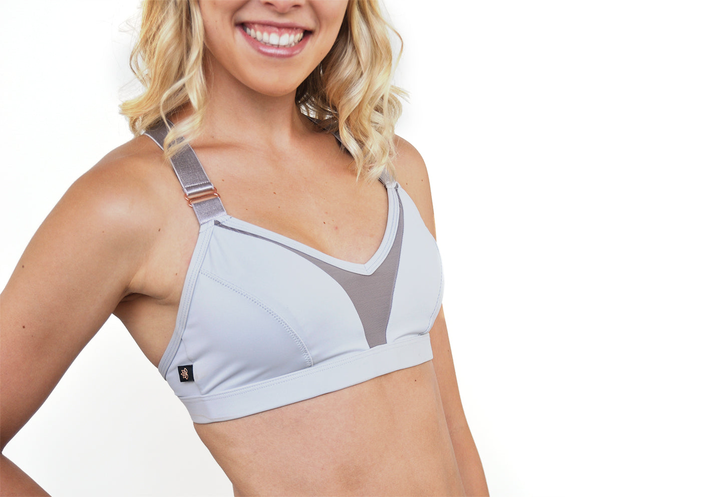 L'urv mesh front v-neck adjustable strap new beginnings bralette in grey with rose gold hardware. Unique Sports Bra Zoomed View