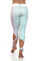 Ombre chevron pattern dancer style high compression yoga leggings with leg wraps.  Available from Uniquely Yoga Boutique. Back View