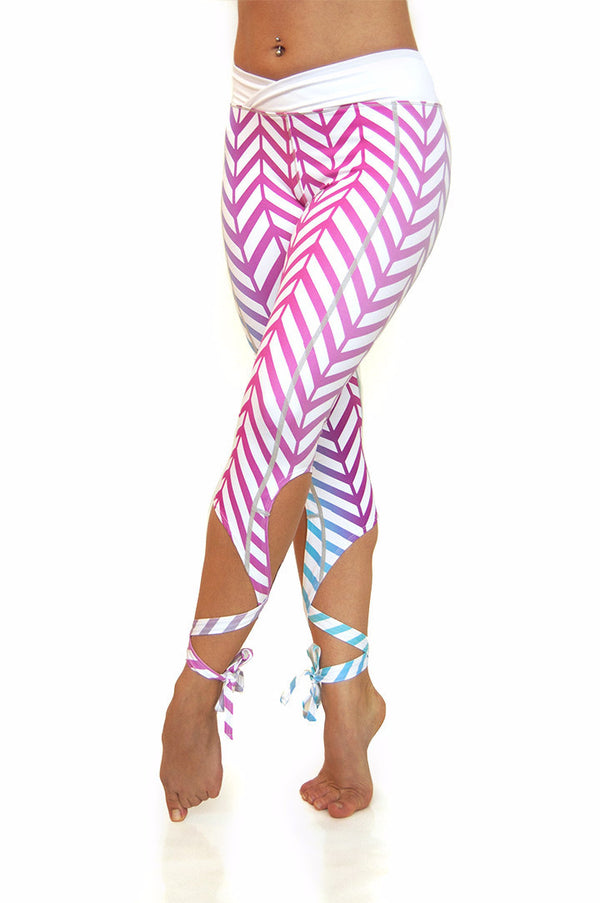 Ombre chevron pattern dancer style yoga leggings with leg wraps.  Available from Uniquely Yoga Boutique. Front View