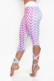 Ombre chevron pattern dancer style high compression yoga leggings with leg wraps.  Available from Uniquely Yoga Boutique. Side View
