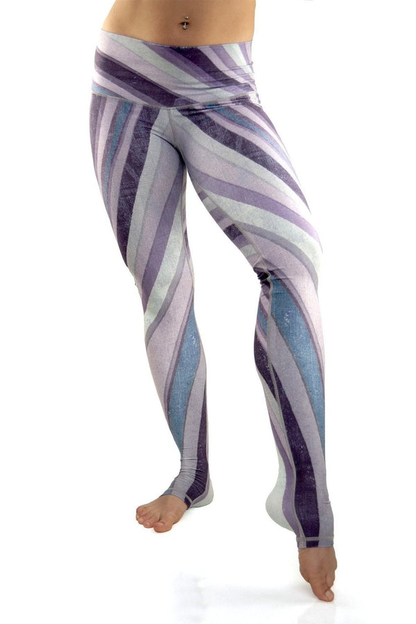 Purple Haze workout leggings from Niyama Sol.  High waist extra long ultra soft compression yoga pants made from eco friendly recycled fabric. Available from Uniquely Yoga boutique.  Front View