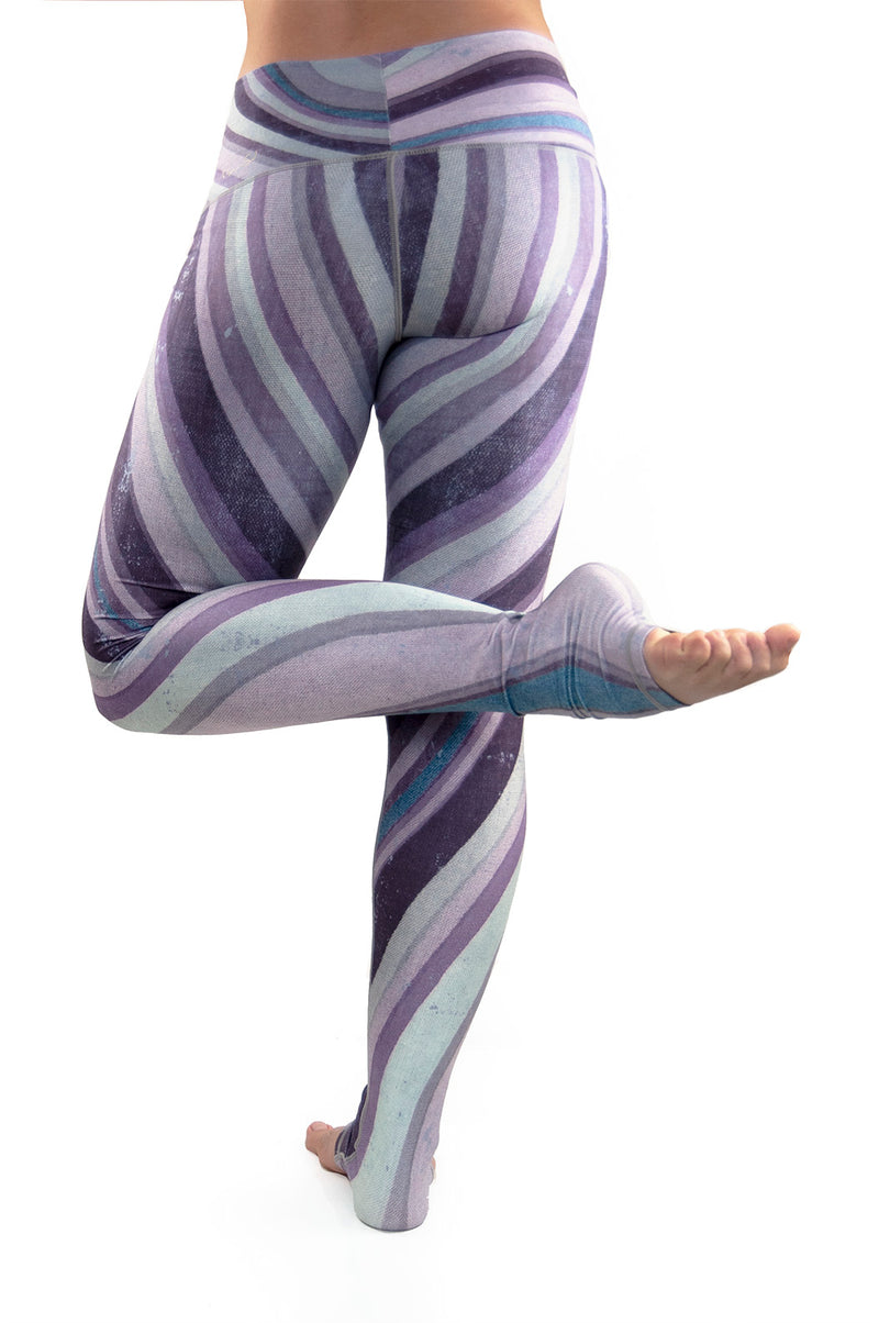 Purple Haze workout leggings from Niyama Sol.  High waist extra long ultra soft compression yoga pants made from eco friendly recycled fabric. Available from Uniquely Yoga boutique.  Back View